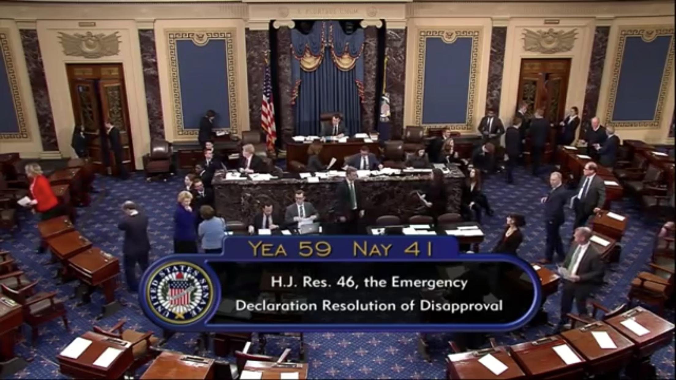 Senate Votes to Block President Trump's Emergency Declaration