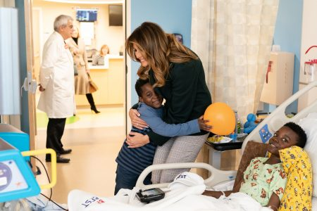 What Melania Wore Visiting Boston Medical Center Infant Program