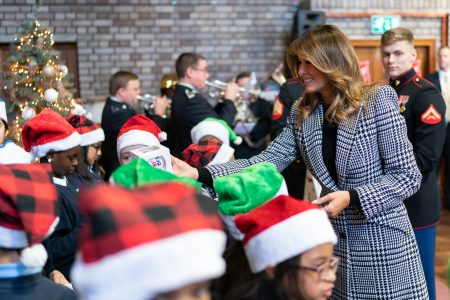 What Melania Wore Visiting London Salvation Army