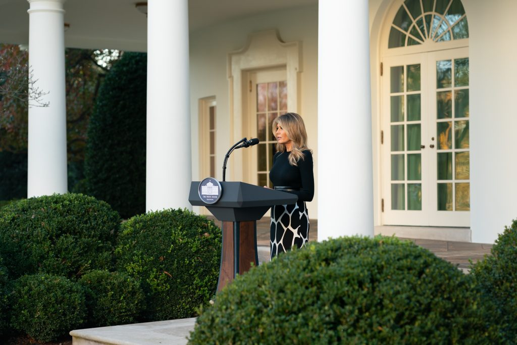 What Melania Wore Unveiling New Sculpture Added To White House Rose Garden Political Fashion By Mona Salama